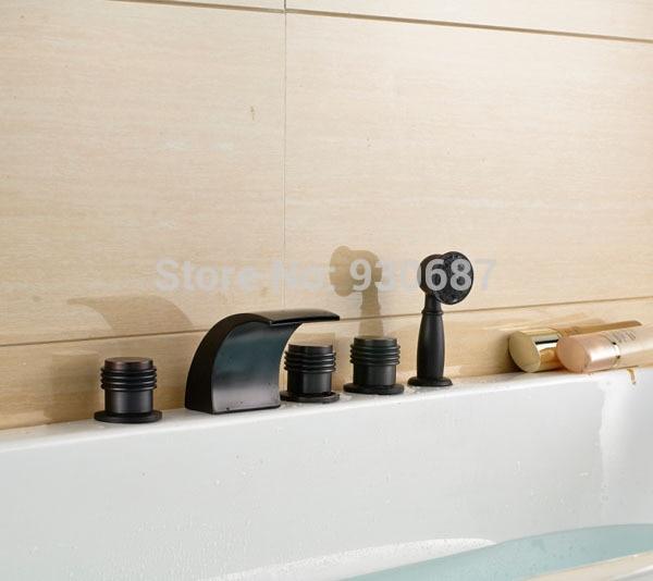 Oil Rubbed Bronze Bathroom Tub Faucet Three Handles Mixer Tap With Handshower bathroom black oil rubbed bronze clawfoot tub faucet mixer tap w handshower cross handles deck mount atf509