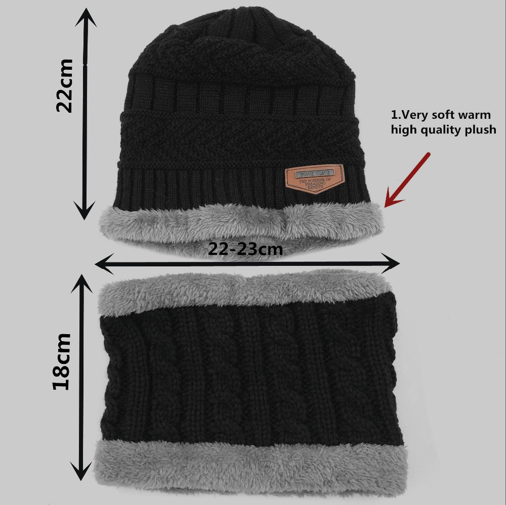 Child 2pcs super warm Winter balaclava wool Beanies Knitted Hat and scarf for 3-12 years old girl boy hats 4