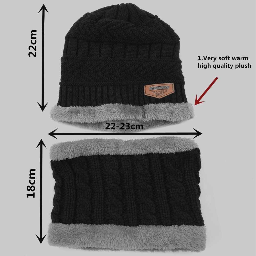 ... 2018 caliente niño 2 piezas súper cálido invierno pasamontañas de lana sombrero  de punto sombrero y ... 49c0ec43023