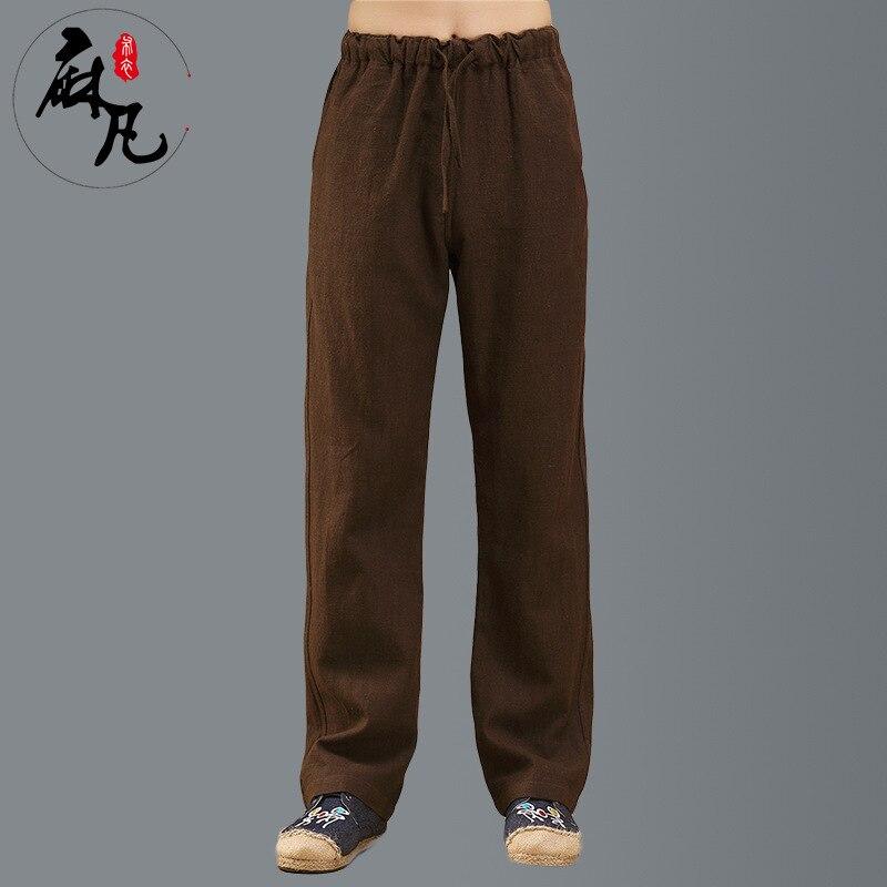 2017 стиль весна и осень мужская одежда китайский стиль комфортно конопли эластичный пояс повседневные брюки прямые m-xl