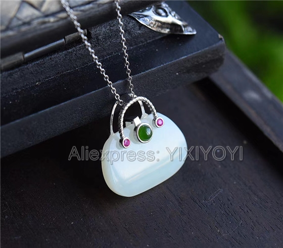 925 Sterling Silver White HeTian Jade Carved Handbag Design Dangle Lucky Pendant + Chain Necklace Charm Fine Jewelry Charm Gift