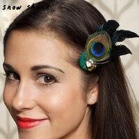 Snowshine #3002 Павлин Перо Стразы Свадебные зажим для волос Булавки головы шпилька бесплатная доставка * cydj