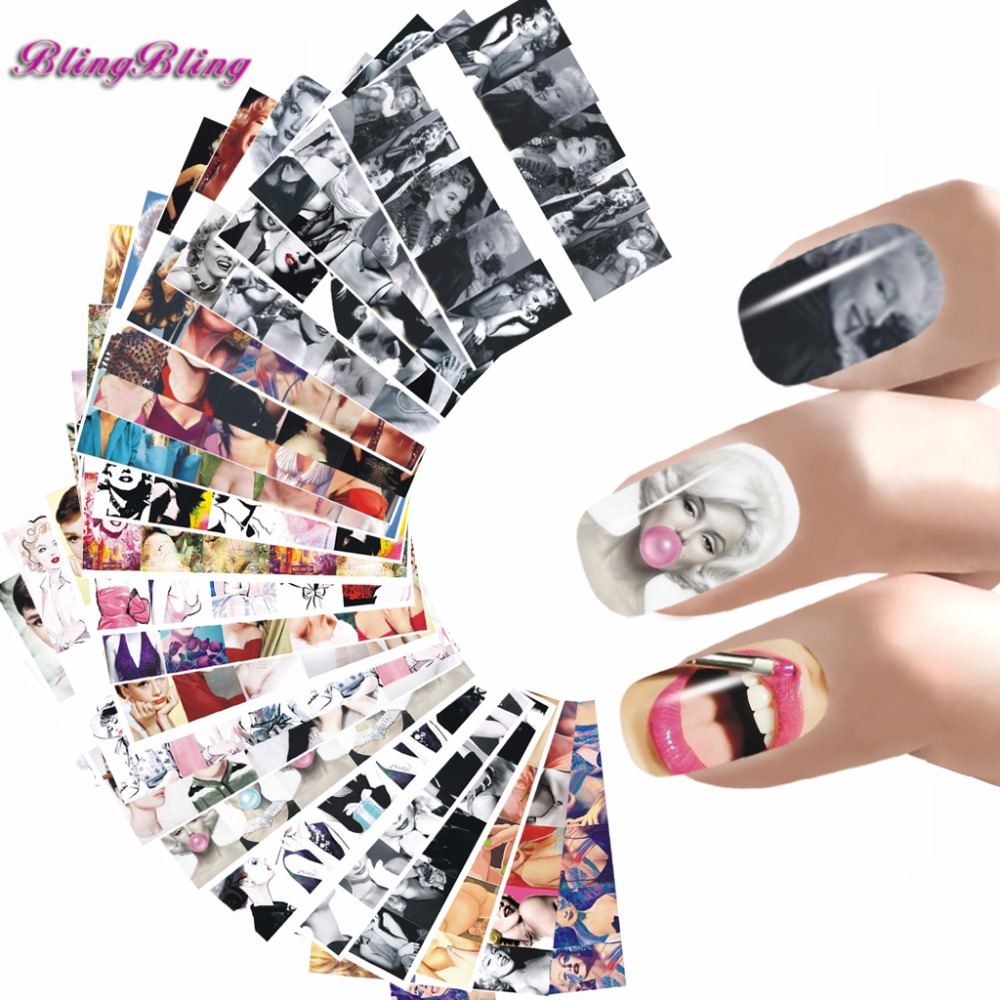 24 sheet Nail Sticker Marilyn Monroe Nail Art Water Decals Audrey Hepburnl Design Nail Wraps Transfer Foil Nails Decorations