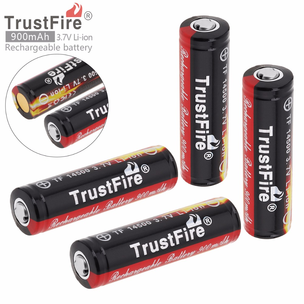 TrustFire 4pcs 3.7V 900mAh High Capacity 14500 Li-ion Rechargeable Battery with Protected PCB for LED Flashlights / Headlamps