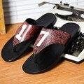 2016 черный подлинная кожа PU вьетнамки мужчины пляжные сандалии массаж животных бренд уличной Обуви Прохладно Удобные воды тапочки