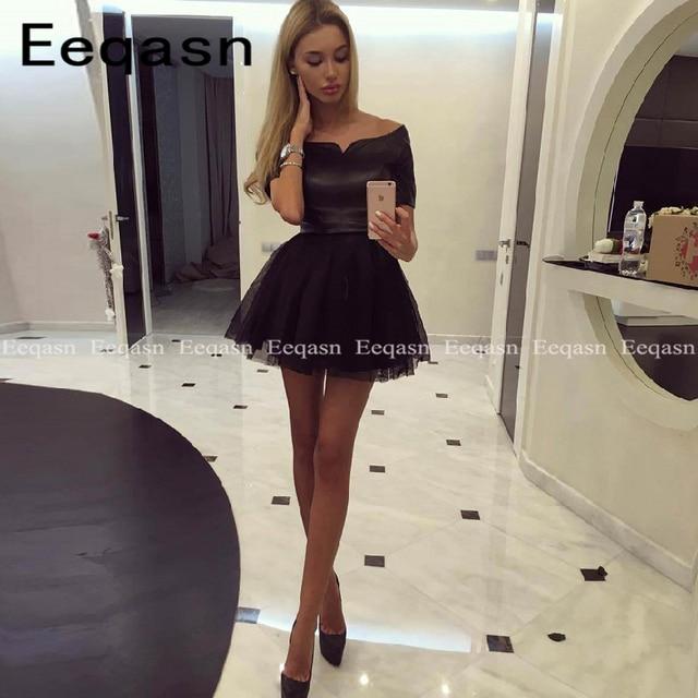2020 Robe Cocktail Black Short Sleeve Party Gowns Vintage Zipper Cocktail Dress Vestidos De Coctel Elegantes Cheap Online