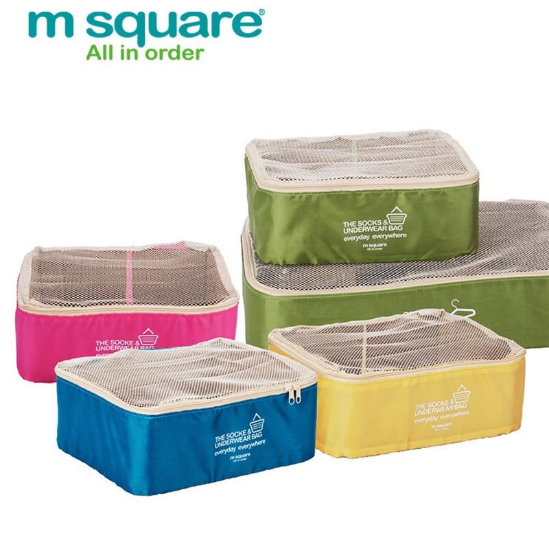 M Square Mesh Travel Bag Packing Cubes Storage Bag Organizer Portable  Luggage Storage Box Organizer Clothes