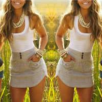 Sexy cuello redondo sin mangas Color blanco Mujer vestido de verano bolsillos Decoración Ropa Mujer Irregular vestido de Mujer Casual caliente