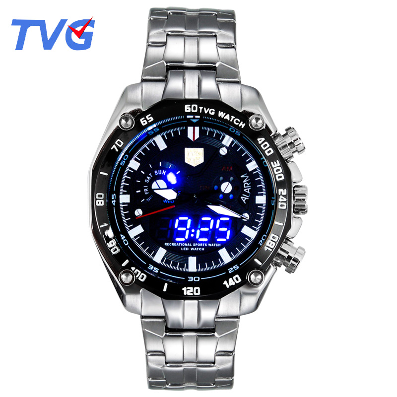 Sports LED Watch Mens Wristwatch TVG Brand Luxury Business Casual Watches Men Fashion Blue Binary Man Watch Stainless SteelSports LED Watch Mens Wristwatch TVG Brand Luxury Business Casual Watches Men Fashion Blue Binary Man Watch Stainless Steel