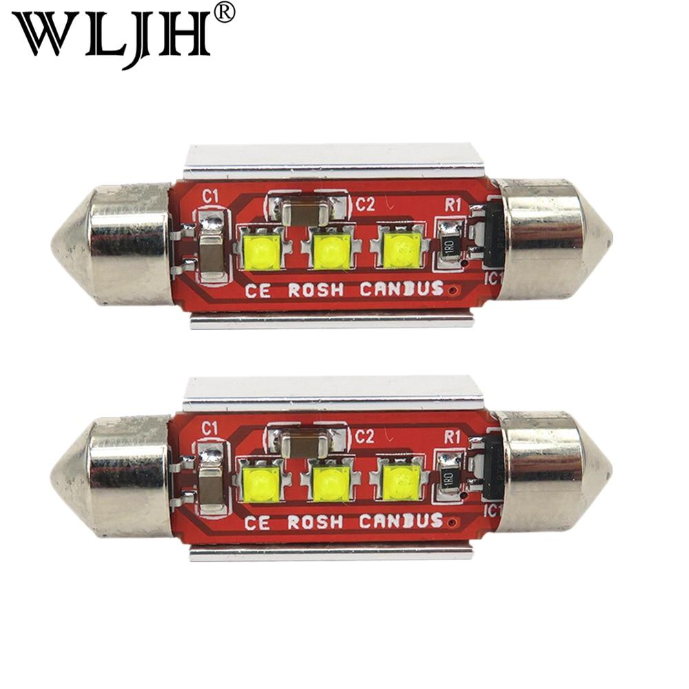WLJH 2x Canbus C10W 39 мм светодиодный светильник для Cree светодиодный чип 3535 светодиодный 239 272 SV8.5 Подсветка салона 12 В светодиодный источник света ав...