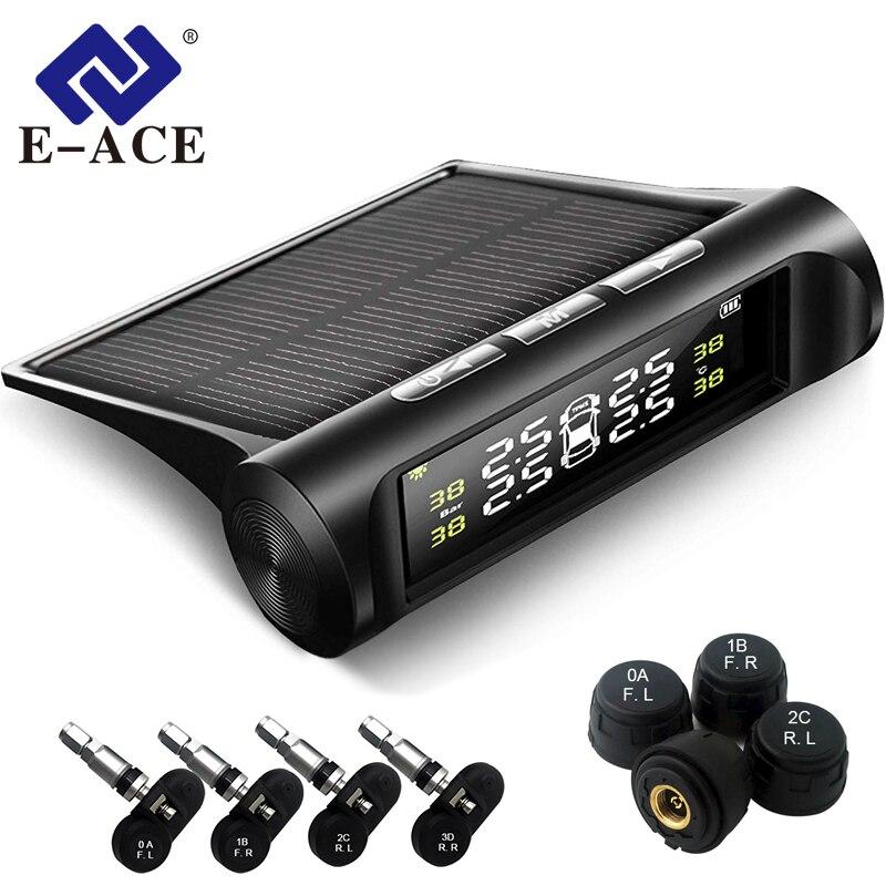 E-ACE Energia Solar TPMS Sistema De Monitoramento De Alarme de Pressão Dos Pneus Do Carro Auto de Segurança Sistemas de Alarme de Aviso de Temperatura de Pressão Dos Pneus