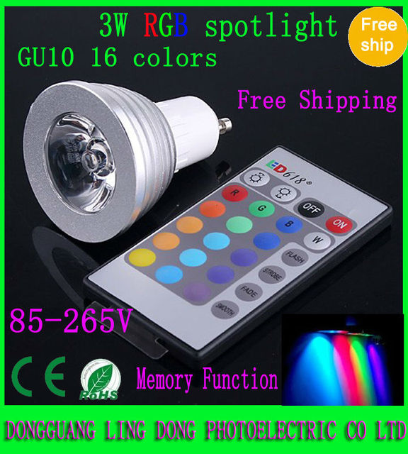 250pcs/lot RGB LED spotlight GU10 3W 4W RGB LED Light Bulb Lamp & Remote Control 85-265V Free shipping