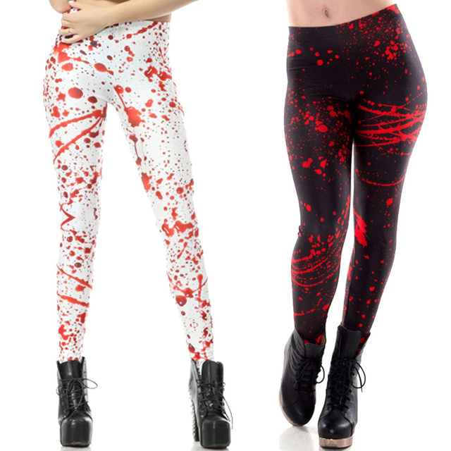 dd1ba4bfc2229 Red Splatter Blood Print Halloween Sports Yoga Pants Running Training Tights  Punk Women Fitness Skinny Leggings Slim Trousers