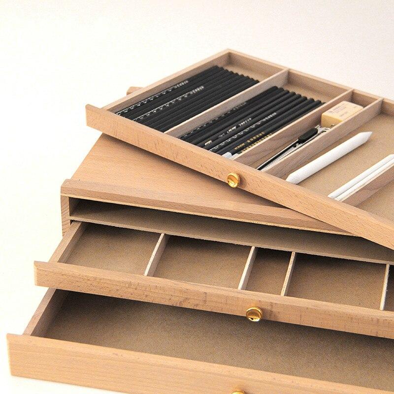 Chevalet en bois pour peinture avec tiroir Table boîte papeterie titulaire Portable bureau peinture chevalet valise peinture matériel