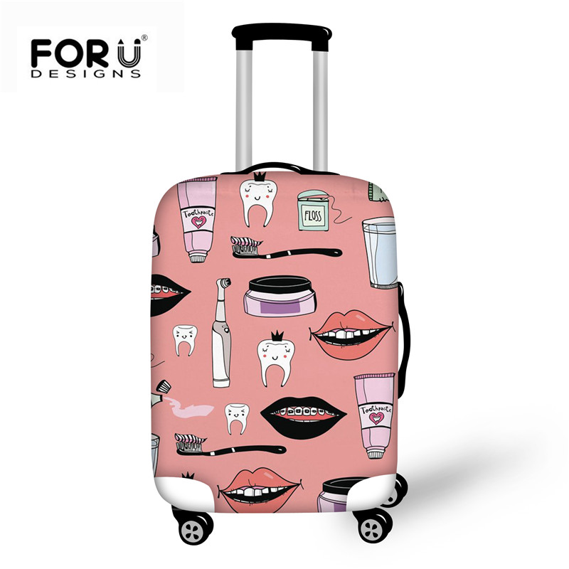 FORUDESIGNS Pink Women Suitcase Elastic Luggage Case Cover Dentist Printing Protective Baggage Bag Thick Travel Trolley Covers
