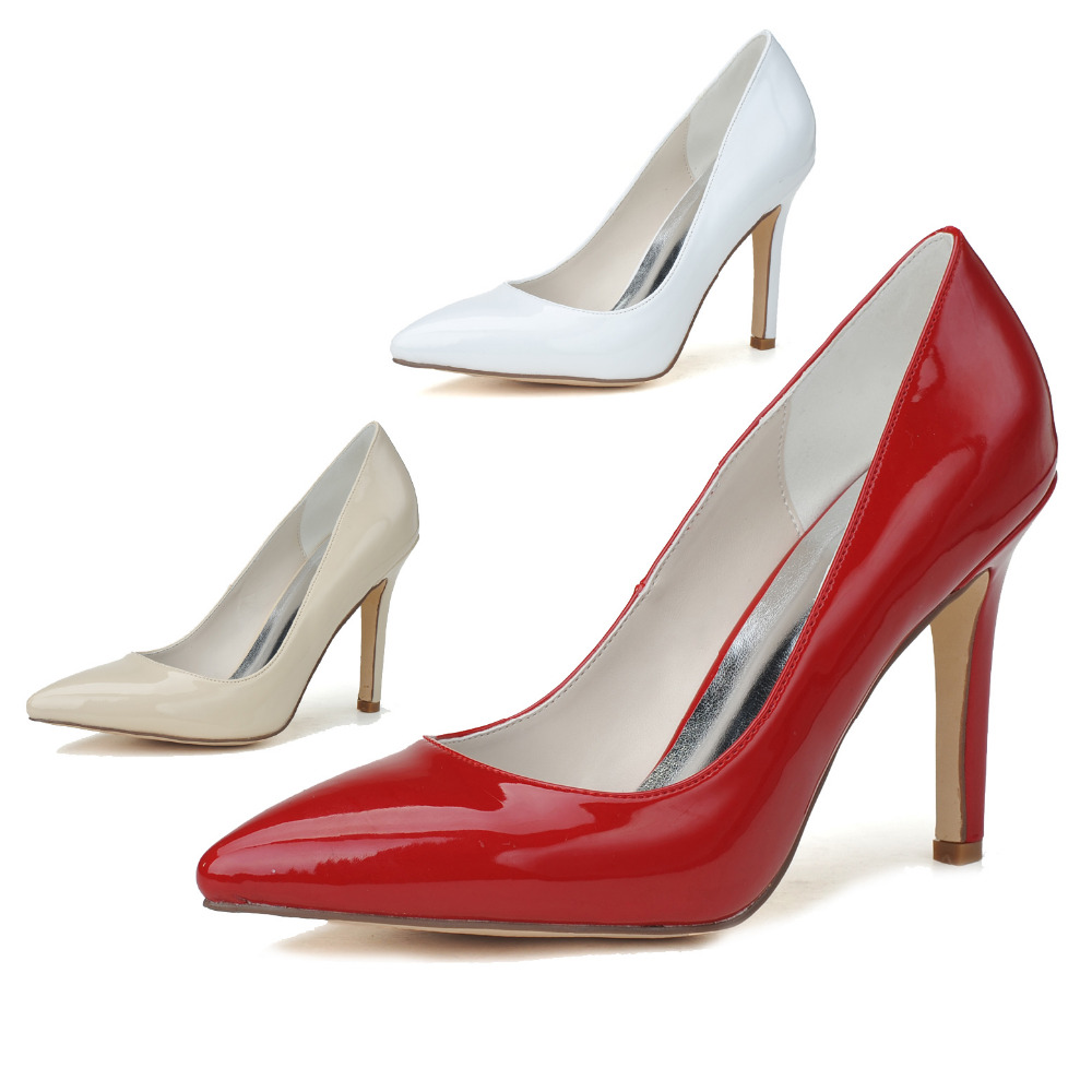 ФОТО Fashion woman pointed toe patent leather pumps high heel for party cocotail office lady shoes red white beige apricot stiletto