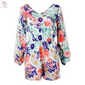 Women Romper Playsuits Long Lace Sleeve Casual Slim Floral Prints Fall Hollow Out Back 2017 Fall Clothing Fashion
