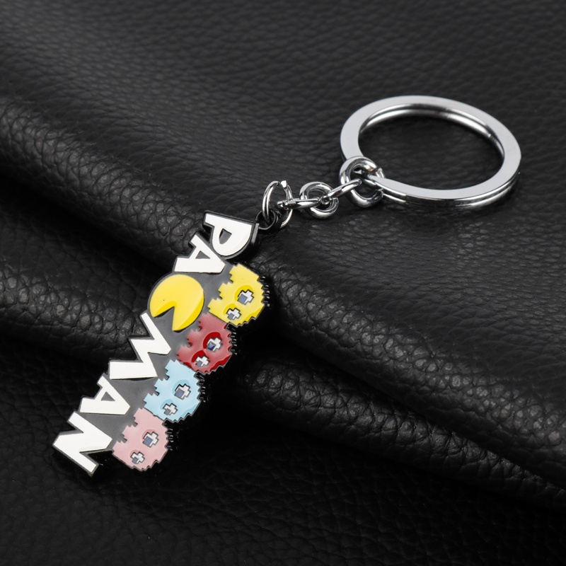 Game Pixels Movie Jewelry Pacman Enamel Metal Keychain Pac Man Charm Pendant Cute Key Chains Christmas Gift Kids Bag Accessories in Key Chains from Jewelry Accessories