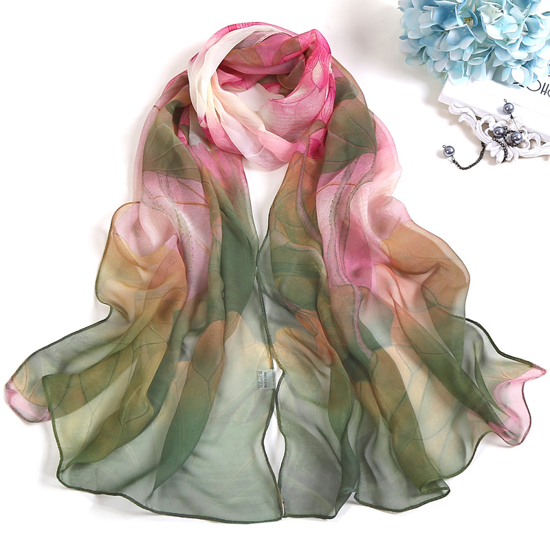 Summer Lotus Sunscreen Scarf Beach Towel Long Women's Silk Scarf Lotus Pond Moonlight Scarfs For Ladies