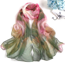 Summer Lotus Sunscreen Scarf Beach Towel Long Womens Silk Pond Moonlight Scarfs for ladies