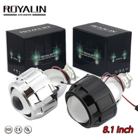 ROYALIN Newest Lenses 2.5'' Bi xenon HID H1 Projector Lens LHD VER 8.1 for H1 H4 H7 Auto Lights Retrofit Car styling Use H1 bulb