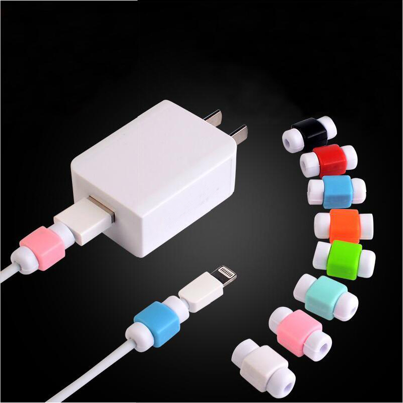 Simple Cute Cable Protector Data Line Cord Protector Protective Case Cable Winder Cover For iPhone USB Color Charging Cable купить недорого в Москве
