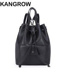 Kangrow Женщины ИСКУССТВЕННАЯ Кожа Ведро сумки Черный Твердые Женская Мода Рюкзак Зеленый Плеча сумки