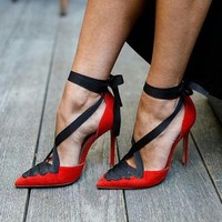 Designer Mixed Color Red Suede Leather Black Straps Cross Tied High Heel Dress Shoes Women Lace Up Party Pumps