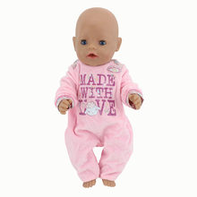 Warm Soft Pink Jumpsuits Wear for 43cm/17inch baby Doll, Children best Birthday Gift(only sell clothes)(China)