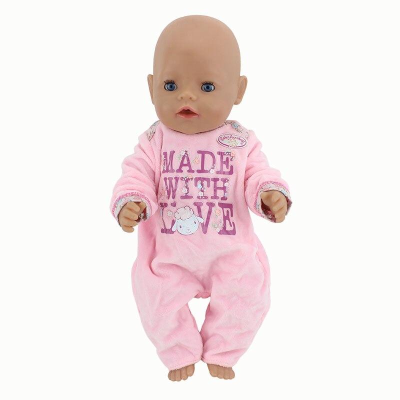 Warm Soft Pink Jumpsuits Wear for 43cm/17inch baby Doll, Children best Birthday Gift