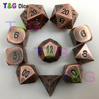 10pcs/set Red Copper Color Metal Zinc Alloy Dice d4 3xd6 d8 d10 d12 2xd20 with Iron Box for Board Game Valentine's Day Gift