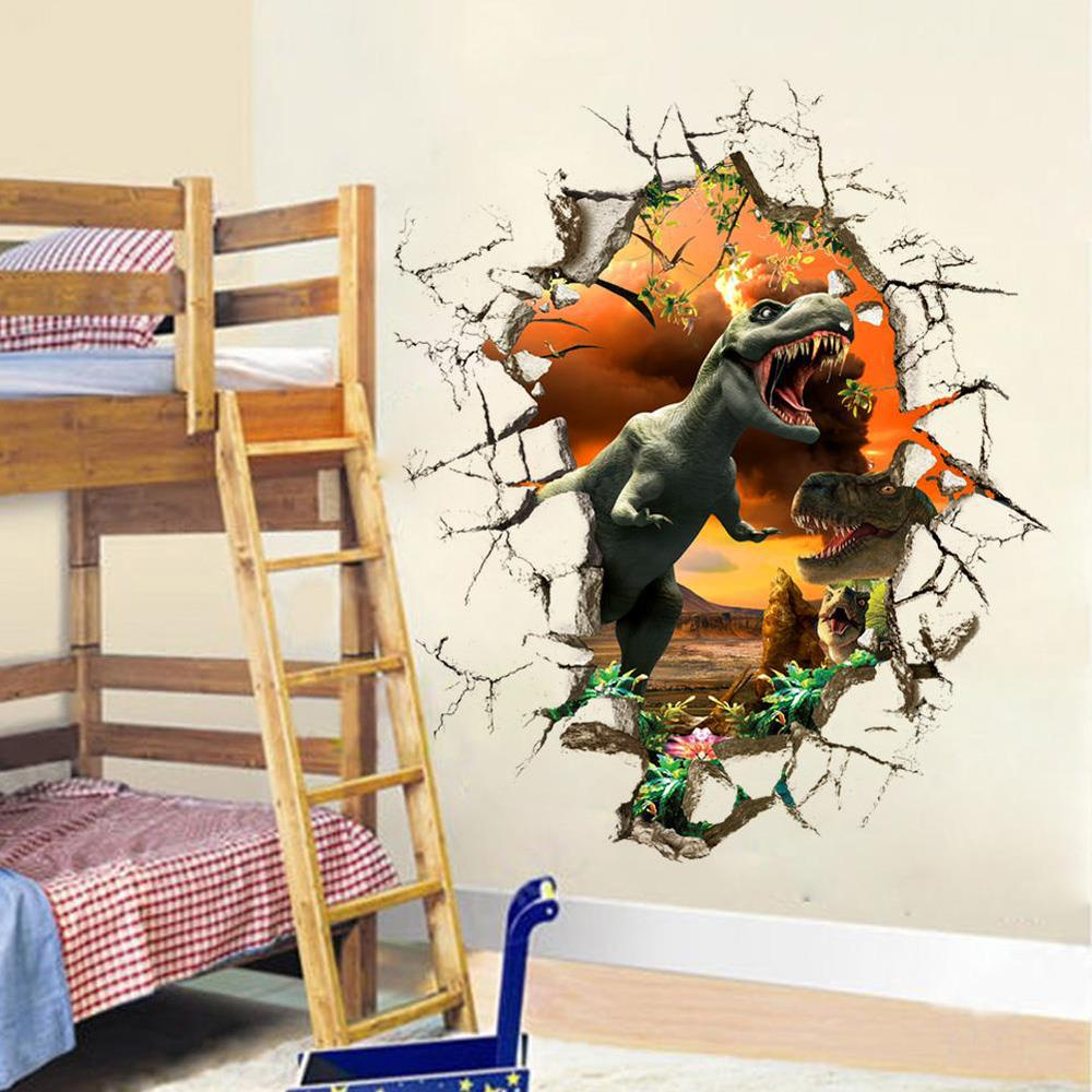3d Through Dinosaur Wall Stickers Decals For Kids Rooms Art For Baby Nursery Room Home Decoration