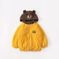 Thicken warm autumn winter kids jacket heavy weight hooded cartoon character design fleece lining toddler baby clothes