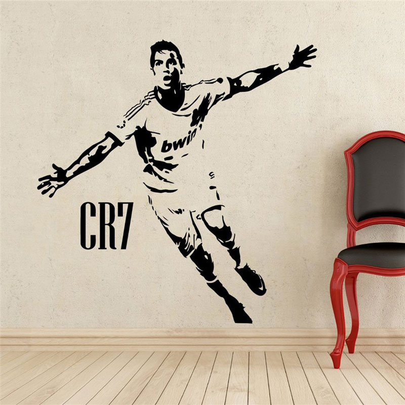 Home Decor Sports football wall stickers PVC Vinyl Removable Art Mural Football Cristiano Ronaldo scored cheering 3YD17 in Wall Stickers from Home Garden