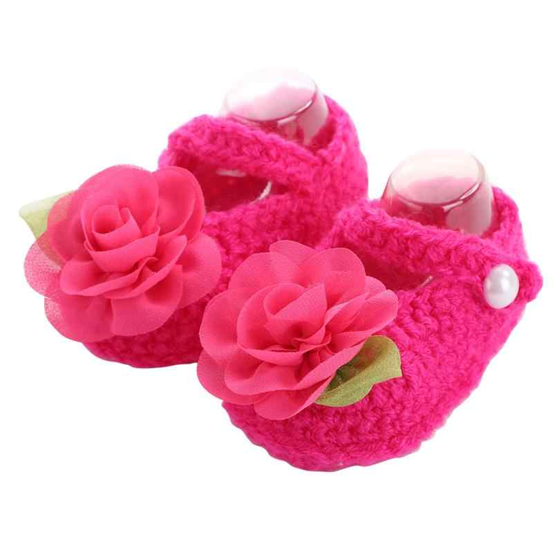 Kid New Boutique flowers crochet baby shoes girls,Toddler Bow Solid Color baby winter shoes,Infant New born Crib Baby Soft Shoes