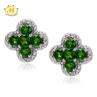 Hutang Vivid Green Chrome Diopside & Diamond Earrings Solid 925 Sterling Silver Jewelry Flower Earring For Women's