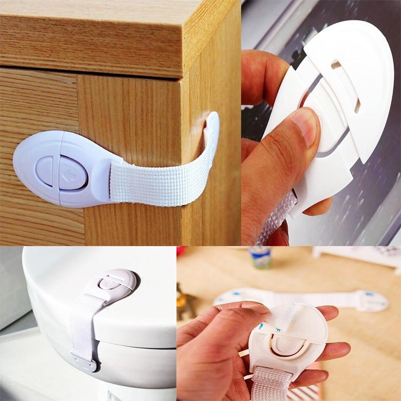 1 Pcs Plastic Security Locks Straps Kids Safety Locks Cabinet Door Drawers Refrigerator Locks Children Safety Protection