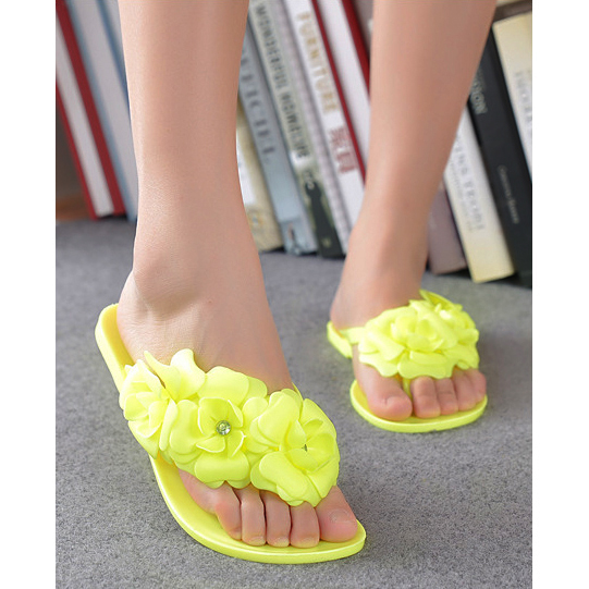 60e51c57547 US $6.36 |TEXU Summer style shoes for women Slippers New Flip Flops Women  Sandals Female Sandals flower jelly sandals slippers yellow-in Women's ...