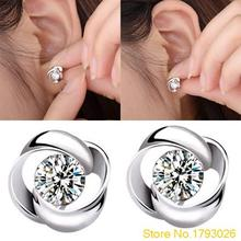 1 Pair Casual and Fashion Women's Silver Plated Crystal Shiny Ear Studs Earrings for party 4TC8