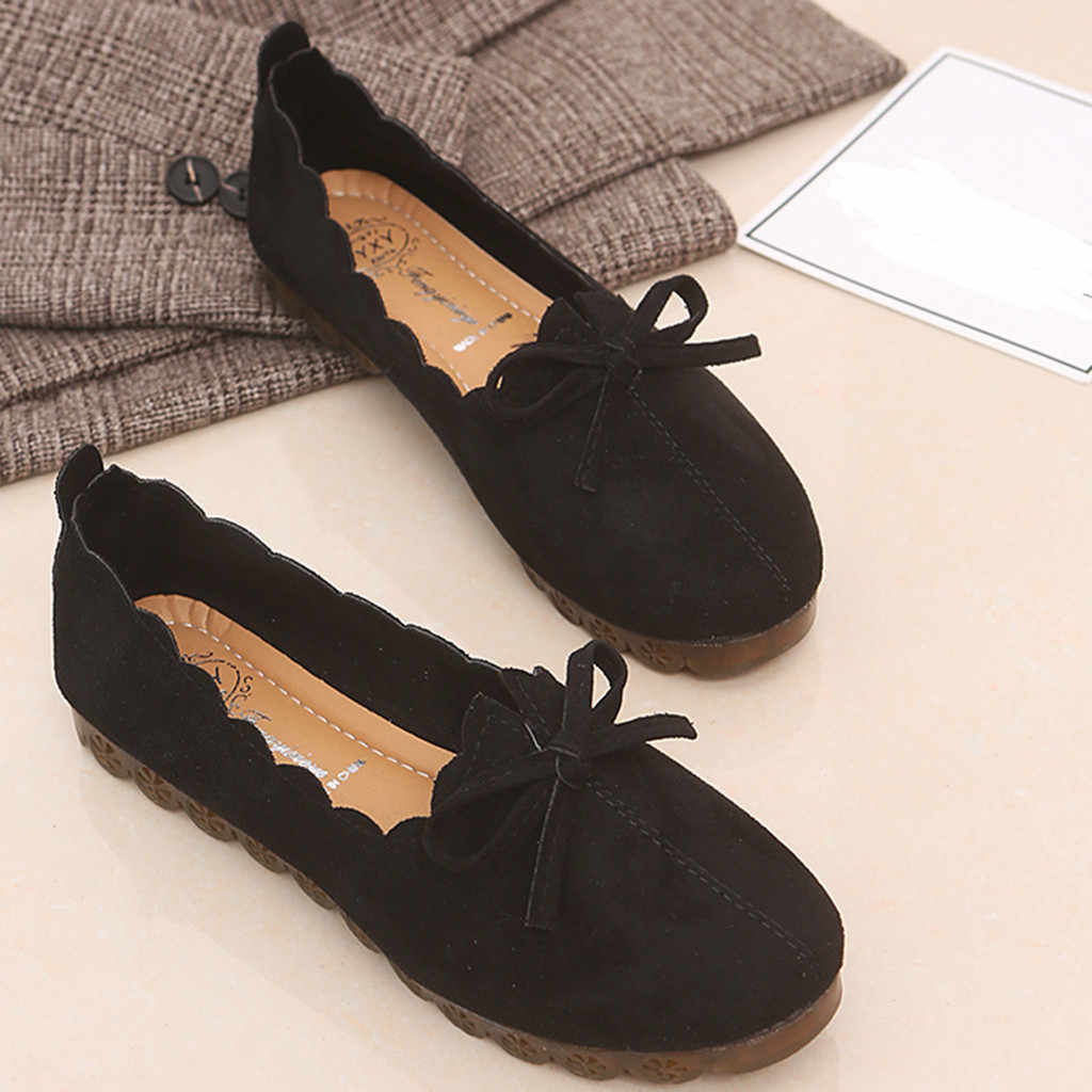 Женская обувь на плоской подошве; коллекция 2019 года; женская повседневная обувь из флока на плоской подошве с бантом-бабочкой; Лоферы без застежки с круглым носком; женская обувь на плоской подошве
