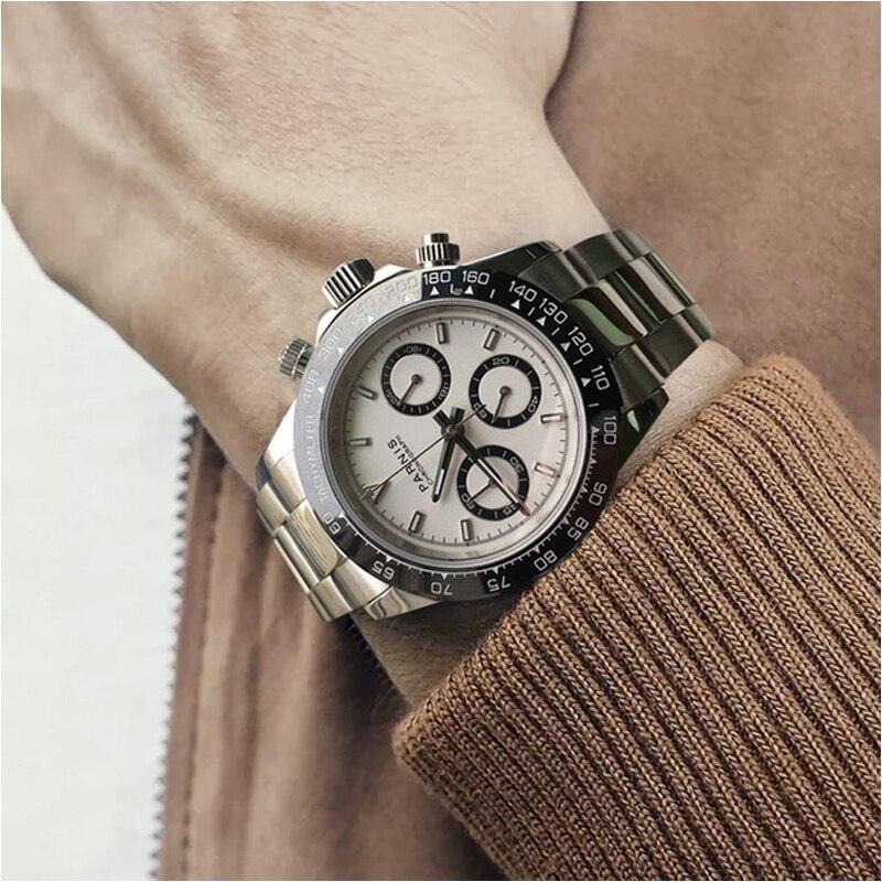 Parnis Quartz chronographe montre hommes Top marque de luxe pilote affaires étanche saphir cristal montre-bracelet Relogio Masculino