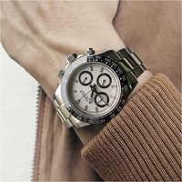 Parnis Quarz Chronograph Uhr Männer Top Marke Luxus Pilot Business Wasserdicht Saphir Kristall Armbanduhr Relogio Masculino