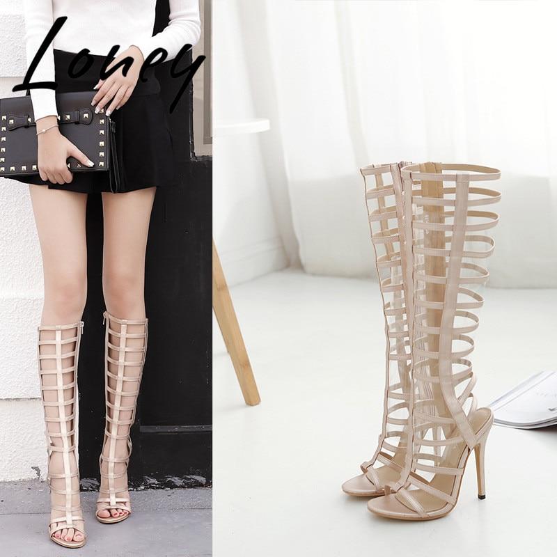 Chaussures Sandales Bout Haute Talons Rome Nouveau Beige Loney À Bande Pic Hauts D'été As Gladiateur Mince Genou Étroite Noir Ouvert qfT0yf