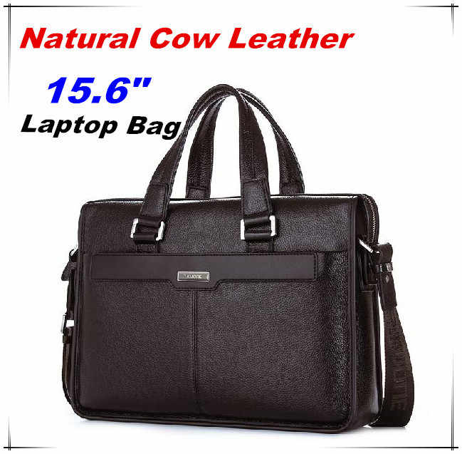 "Guarantee Natural Cow Leather Brand men handbags men's shoulder messenger bags 15.6"" Inch Laptop Bag Genuine Leather Briefcase"