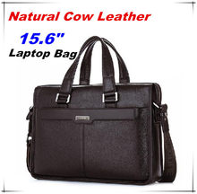 "Guarantee Natural Cow Leather Brand men handbags men's shoulder messenger bags 15.6"" Inch Laptop Bag Genuine Leather Briefcase(China)"