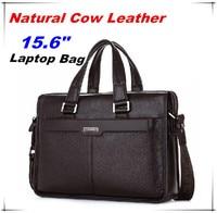 Guarantee Natural Cow Leather Brand men handbags men's shoulder messenger bags 15.6 Inch Laptop Bag Genuine Leather Briefcase