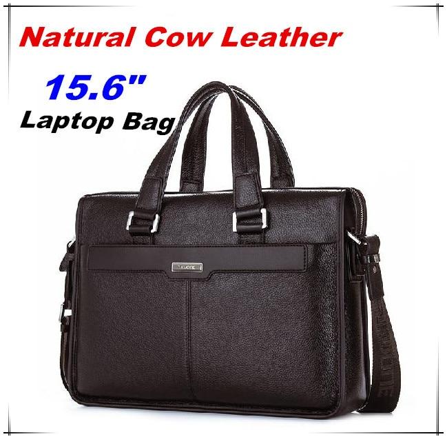 5e95b86349adb Gwarancja Naturalna Skóra Bydlęca mężczyzn Marki torebki męskie torby na  ramię messenger 15.6 Calowy Laptop Torba Z Prawdziwej Skóry Teczki