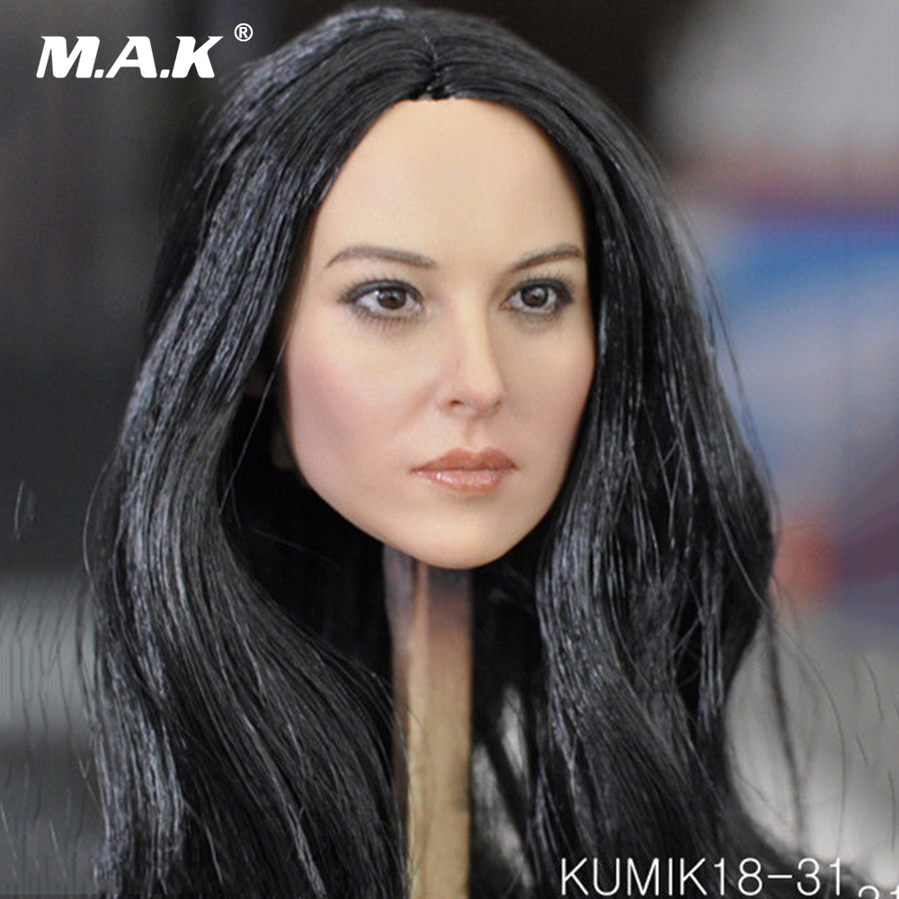 1/6 Scale Female Head Sculpt Action Figures Accessory Black Hair Head Carving Model Toys for 12'' Woman Figure Body цена