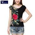 Women cotton t-shirt 2017 girls summer ethnic short sleeve o neck white black floral handmade embroidery t shirt tee Tops