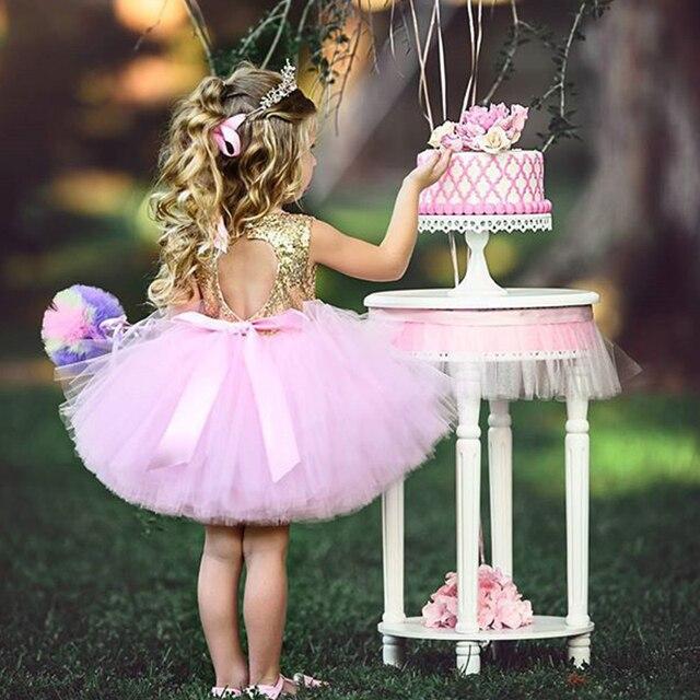 יילוד תינוק מסיבת שמלות עבור בנות 1st שנה יום הולדת טוטו שמלת פאייטים טבילת פעוטה בגדי ילדים קטן שמלת Vestido